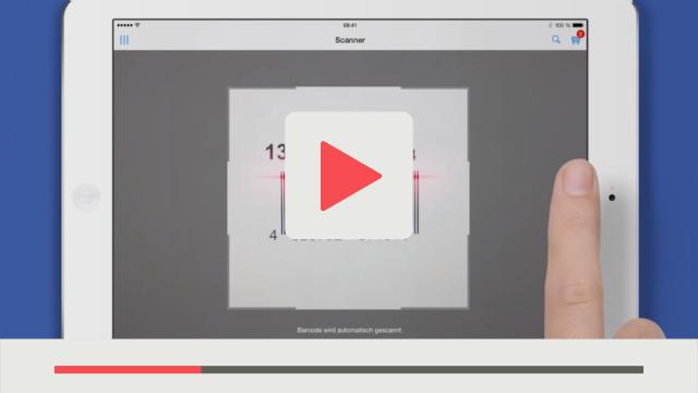 Erklärvideo einer App von Facility World iPad wird verwendet blauer Hintergrund
