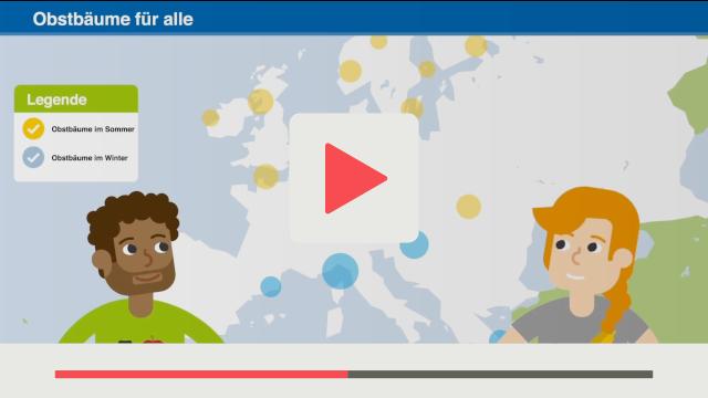 Grafik aus Flat Vector Erklärviedo vom Leibniz-Institut für Länderkunde links und rechts je eine Person abgebildet im Hintergrund Landkarte