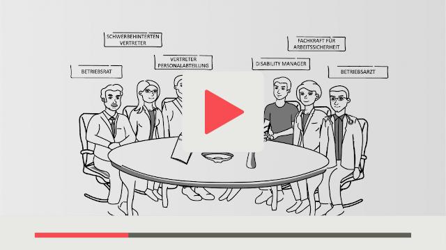 Organisation mit Erklärvideos Betriebliches Eingliederungs-Management kurz BEM Grafik stellt Meeting dar