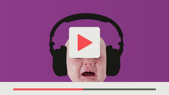 textzeichnerin für Fiducia Communitys Schreiendes Baby mit schwarzen Kopfhörern Hintergrund lila