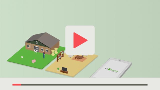 Erklärvideo zu der App IQ-Feed landwirtschaftlicher Betrieb private Wohnung weißes Handy nebeneinander abgebildet grüner Hintergrund