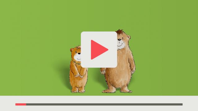 Grafik aus textzeichnerin Erklärvideo für den Schroedel Verlag Prinzip flipped classroom ein kleiner und ein großer Bär mit den Bezeichnungen Mi und Mama grüner Hintergrund