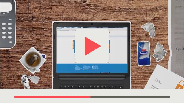 Screencast Erklärungsvideostil Beispiel VR-Protect Laptop mit VR-Protect Hintergrund Holz Optik