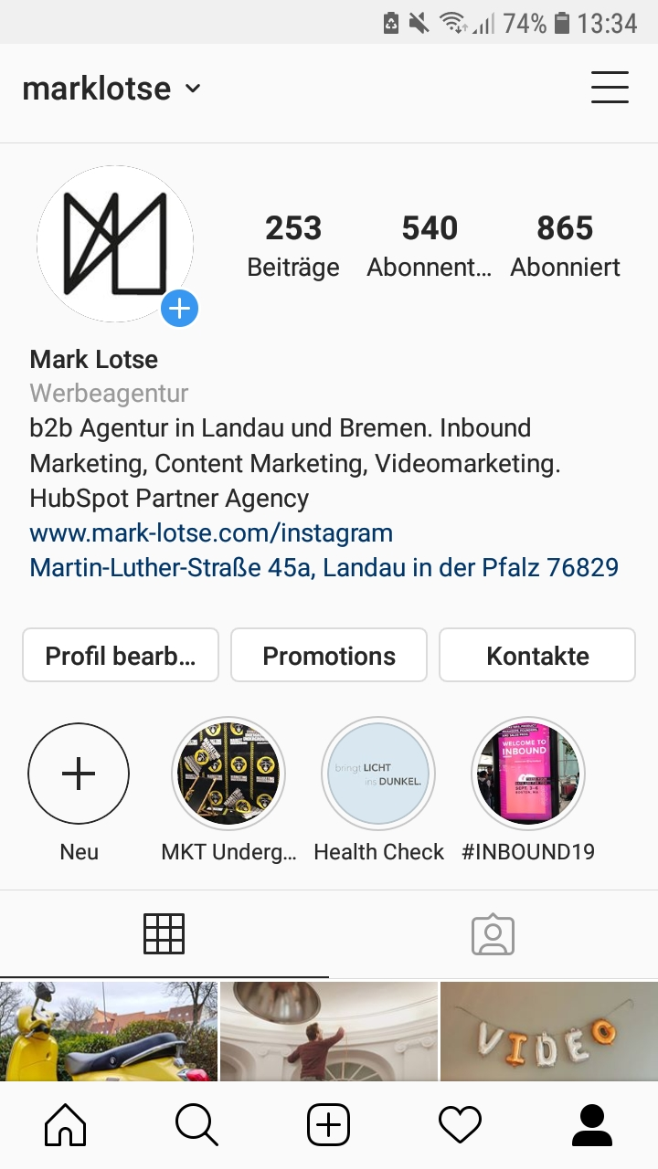 instagram story highlights bild